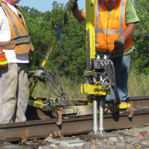 Concrete tie coring machine